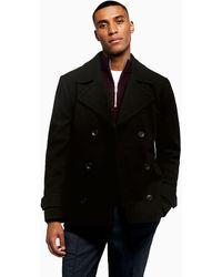 TOPMAN Faux Fur Pea Coat - Black