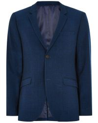 TOPMAN - Navy With Subtle Windowpane Check Skinny Suit Jacket - Lyst