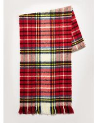 TOPMAN - Red Check Reverse Brushed Scarf - Lyst