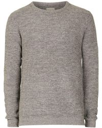 SELECTED - Selected Homme Grey Waffle Textured Sweater - Lyst