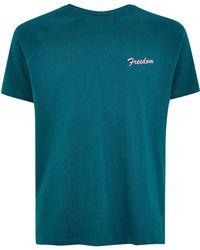 TOPMAN - Teal 'freedom' T-shirt - Lyst