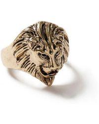TOPMAN - Gold Lion Ring - Lyst