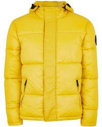 TOPMAN - Yellow Puffer Jacket - Lyst