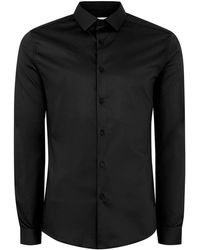 TOPMAN - Black Satin Muscle Fit Long Sleeve Shirt - Lyst