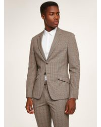 TOPMAN - Brown Check Muscle Suit Jacket - Lyst