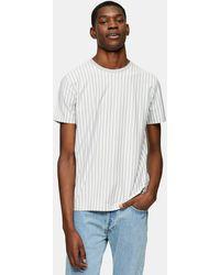 TOPMAN And White Vertical Stripe T-shirt - Grey