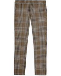 TOPMAN Check Stretch Skinny Trouser - Brown