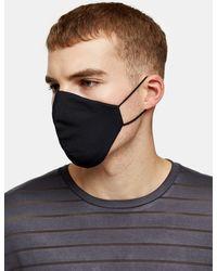 TOPMAN 2 Packmonogram Print Andfashion Face Mask - Black