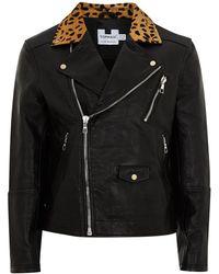 TOPMAN - Leather Biker Jacket With Leopard Collar - Lyst