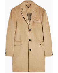 TOPMAN Camel Overcoat With Wool - Brown