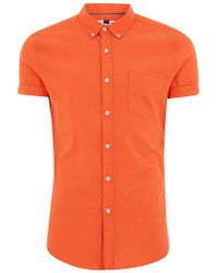 TOPMAN - Orange Oxford Short Sleeve Shirt - Lyst