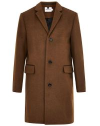 TOPMAN - Brown Overcoat With Wool - Lyst