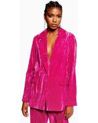 09b6caffa TOPSHOP Satin Suit Jacket in Metallic - Lyst