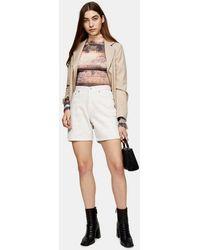 TOPSHOP Straight Leg Denim Shorts - White