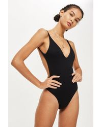 TOPSHOP - Ribbed Plunge Swimsuit - Lyst