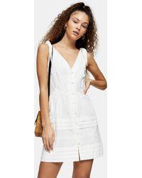 TOPSHOP Ivory Pintuck Button Mini Dress - White