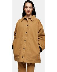 TOPSHOP camel Swing Shacket By Boutique - Natural