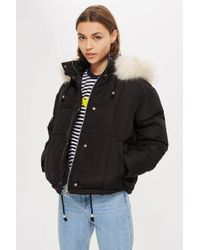 TOPSHOP - Faux Fur Lined Quilted Puffer Jacket - Lyst