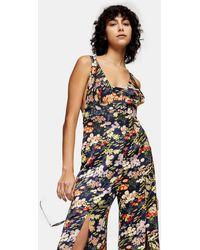 TOPSHOP Combi-pantalon à imprimé de fleurs - Multicolore