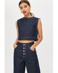 aa432054bd1f06 TOPSHOP - Cropped Denim Tank Top By Boutique - Lyst