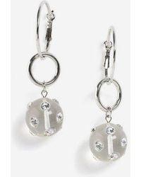 TOPSHOP - Hoop Drop Gem Earrings - Lyst
