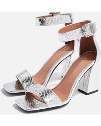 TOPSHOP Wide Fit Suki Two Part Sandals - Metallic