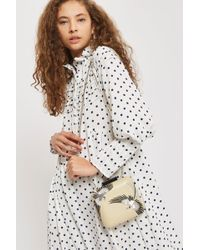 TOPSHOP - Leather Bird Embroidered Boxy Clutch - Lyst