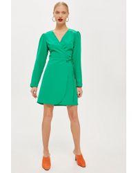 TOPSHOP - Petite Crepe Wrap Mini Dress - Lyst