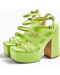 TOPSHOP Rapid Lime Green Strap Platform Shoes