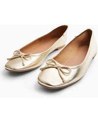 TOPSHOP Astrid Gold Ballet Shoes - Metallic