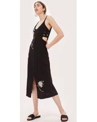 TOPSHOP - Embroidered Lattice Side Slip Dress - Lyst