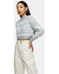 TOPSHOP Gray Marl Striped Super Crop Brushed Sweater