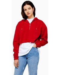 Red Super Soft Half Zip Hoodie Oknw08XP