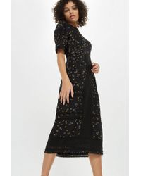 TOPSHOP - Lace Yoke Ditsy Midi Shift Dress - Lyst