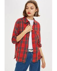 TOPSHOP - Washed Check Shirt - Lyst