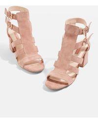 TOPSHOP - Nia Buckle Mid Heel Sandals - Lyst