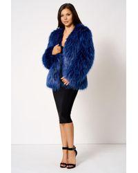 Club L - Blue Short Faux Fur Coat By - Lyst