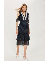 Hope and Ivy - navy Polka Dot Cold Shoulder Dress By Hope & Ivy - Lyst