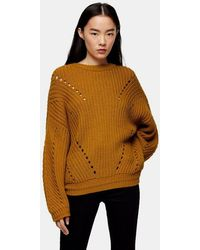 TOPSHOP - Considered Brown Knitted Sweater With Recycled Polyester - Lyst