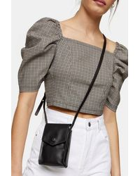 TOPSHOP Lara Leather Pouch Bag - Brown