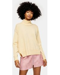 TOPSHOP Buttermilk Ribbed Back Roll Neck Sweater With Cashmere - Natural