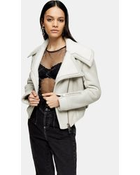 TOPSHOP Idol Gray Asymmetric Sheepskin Biker Jacket