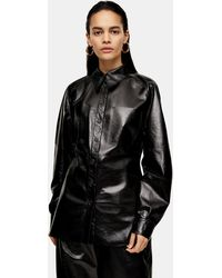 TOPSHOP Patent Leather Shirt By Boutique - Black