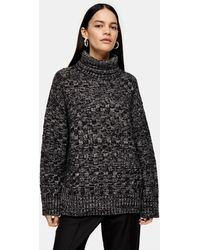 TOPSHOP Funnel Neck Sweater By Boutique - Black