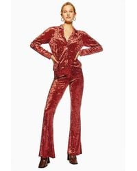 Band Of Gypsies Crushed Velvet Flared Trousers By - Pink