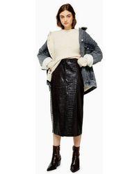 TOPSHOP Faux Leather Vinyl Crocodile Print Midi Skirt - Black