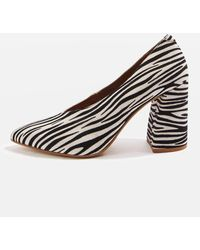TOPSHOP Gina V-cut Flare Block Heel Court Shoes - Multicolor