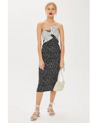 TOPSHOP - Monochrome Bow Twist Midi Dress - Lyst
