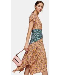 TOPSHOP Mixed Floral Print Hanky Hem Midi Dress - Blue