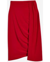 Club L - Red Ruched Layered Midi Skirt By - Lyst